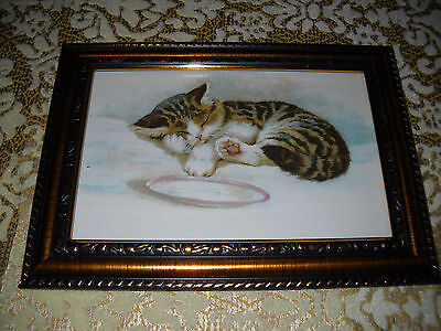 KITTEN SLEEPS NEXT TO BOWL a 4 X 6 gold framed picture Victorian style art print