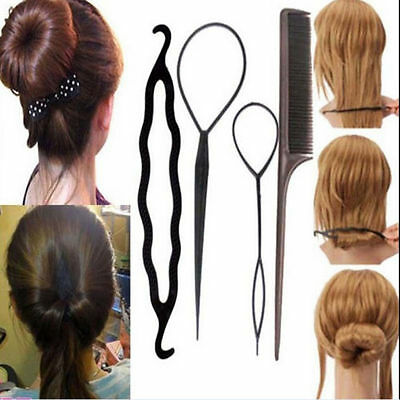 Fashion 4pcs Women Girls Hair Styling Clip Stick Bun Maker Braid Tool