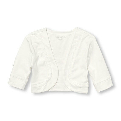 NWT The Children's Place Girls White Elbow Sleeve Ruffle Trim Shrug Cardigan