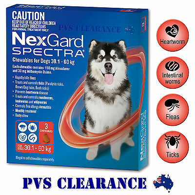 Nexgard Spectra Red 3 for Extra Large Dogs 30.1 - 60 kg 3 Pack Nexguard Spectrum