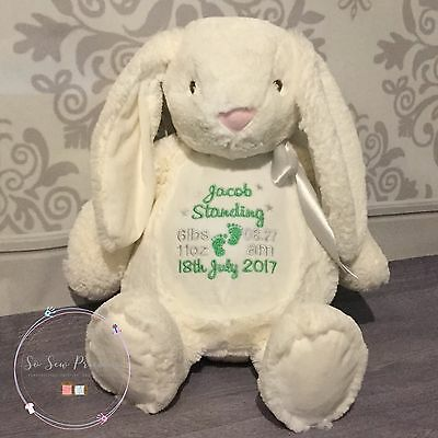 Personalised Mumbles Rabbit, New Baby, Teddy Bear Gift, Embroidered