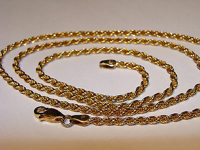 "925 Sterling Silver Yellow Gold Plated Rope Chain Necklace 24"" Italy"
