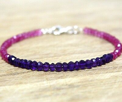 Natural Pink Topaz and Amethyst Rondelle Bangle Bracelet Solid Sterling Silver