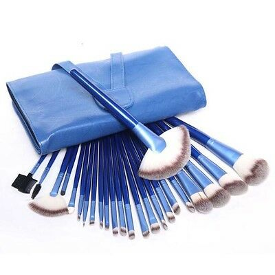 Professional 24pcs Blue Cosmetic Foundation Makeup Brushes Kit set with Bag Case
