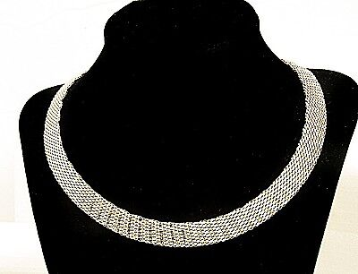 14K white yellow Gold Choker Collar Necklace Designer Superb 32.64g ITALY WOW!!!