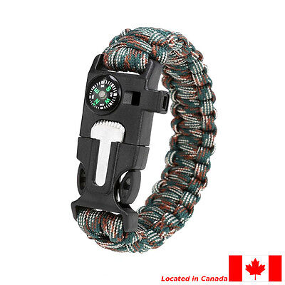 Rope Paracord Survival Bracelet with Flint Fire Starter Compass & Whistle.
