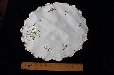 "Lovely Antique Society Silk Hand Embroidered Flowers On Linen c1900~15"" Round"