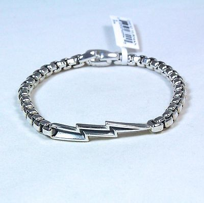 "David Yurman Men's Bolt Box Chain Bracelet Sterling Silver 8"" $450 NWT"