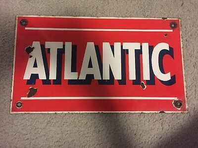 Vintage Antique Atlantic Metal Sign Rare Gas Oil Americana Tin Station Plaque