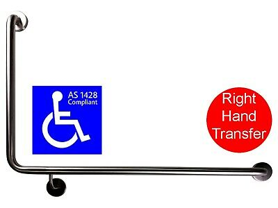 90 Degree Grab Bar Rh As1428.1 Safety Rail Disabled Toilet Wheelchair Stainless