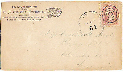 U.S.A. (1860's) Pigeon carrying letter. Civil War. RED CROSS