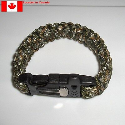 Paracord Rope Survival Bracelet with Whistle & Flint Fire Starter