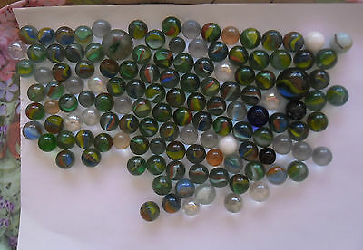Lot of 130 Classic Glass Marbles- various sizes