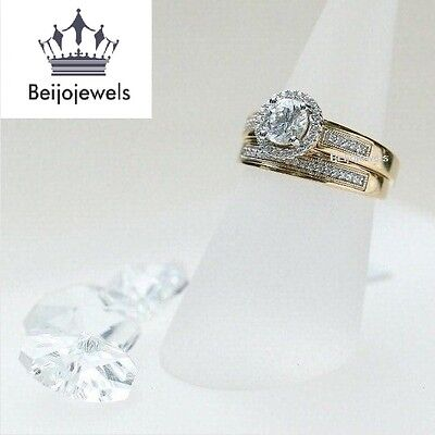 14K Yellow Gold D/Clear Diamond Wedding Bridal Set Round Cut Engagement Ring