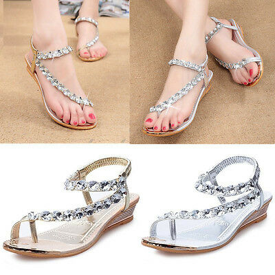 Women Summer Wedge Sandals Fashion Low Heel Casual Rhinestone Slip On Shoes New