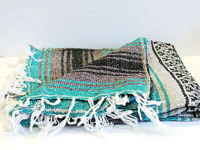 Mexican Falsa Hand Woven Throw Blanket. Made in Mexico Teal - 2 Pack ~ FREE SHIP
