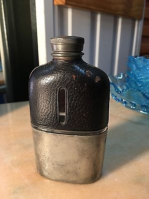 Antique Vintage English Made Pewter Glass & Leather Hip Flask