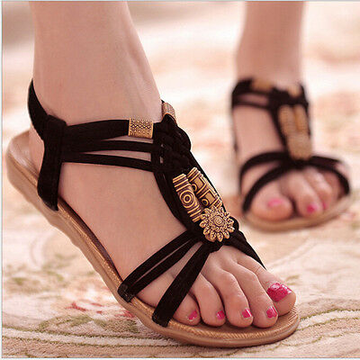 Women Flats Sandals Comfortable Casual Fashion Soft Slip On Beach Sandals Shoes