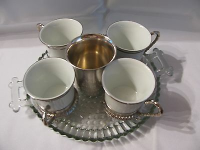 Vtg Italy White Pottery Coffee Set , Silver Plate Cup Holders, Creamer ( 10 Pc )