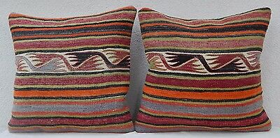 20''x20'' Rustic Kilim Rug Throw Pillow Covers Set of 2 Decorative Couch Pillows