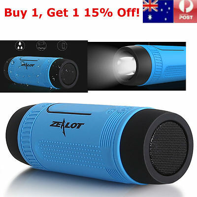 Waterproof Portable Bluetooth Wireless Speaker MIC Stereo Subwoofers LED Torch