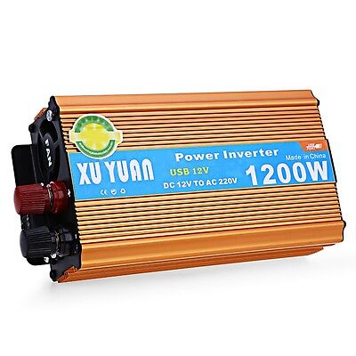 1200W PEAK DC 12V to AC 220V Car Power Inverter Converter with USB Charging Port