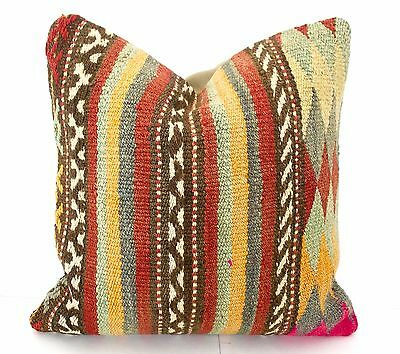 kilim pillow handmade Turkish kilim pillow cover 16X16 kilim cushion rug pillow
