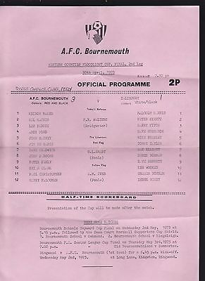 1972/73 BOURNEMOUTH V SALISBURY 30-04-1973 Western Counties Floodlight Cup Final