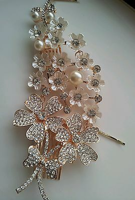 Gold Flower/ pearl and crystal hair comb, wedding hair accessories NEW 212