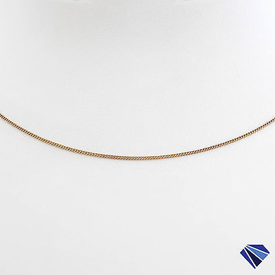 Real Solid 9K 9ct Rose Gold Fine 1mm Curb Chain 50cm Long Stackable Necklace