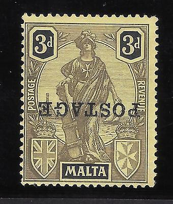Malta SG 149a, 3d black/yellow opt. inverted VF unused Multiple Signed