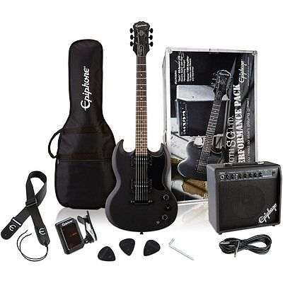 Pack de guitarra Epiphone Goth SG Pitch Black Performance Pack