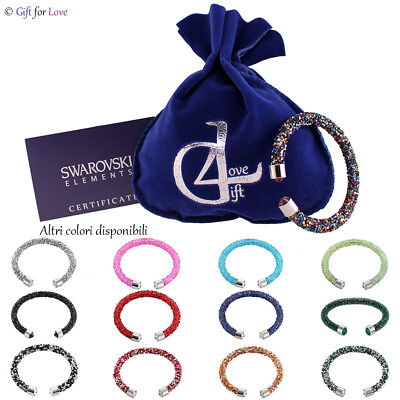 Bracciale donna argento Swarovski Element originale G4Love cristalli semi rigido
