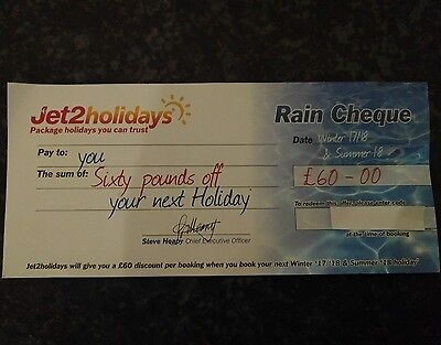 Jet 2 Holidays £60 Off Voucher (Rain Cheque)