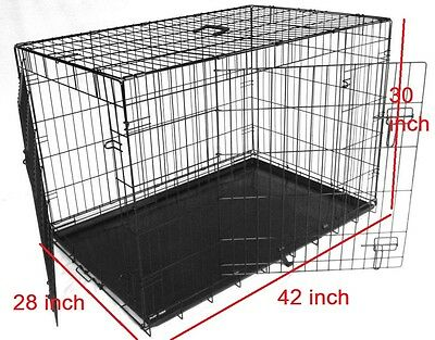 XL 42 inch Pet Cage Metal Dog Cat Puppy Training Folding Crate Animal Transport