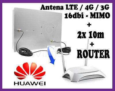 Kit antenna UMTS 3G 4G LTE Direttiva 16dbi MIMO + router MR3420 + CRC9 TS9