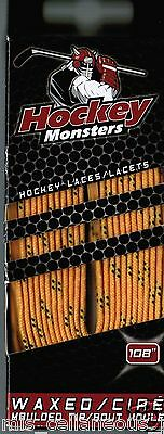 108'' Hockey Monsters Laces -  Waxed - Molded Tip Gold 274cm