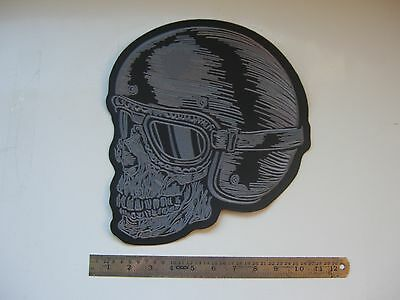 SKULL  LARGE IRON ON stitch on EMBROIDERED PATCH  BIKER CAFE  racer retro