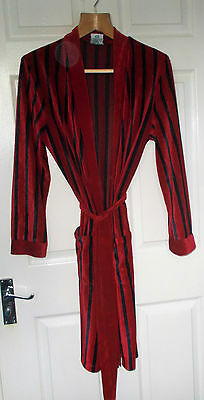 Vintage C&A Canda 1980s  Dressing Gown/Smoking Jacket Small Ruby Red Velour