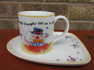 Aynsley China Humpty Dumpty Cup & Plate, Nursery Rhyme, Baby, Christening Mug