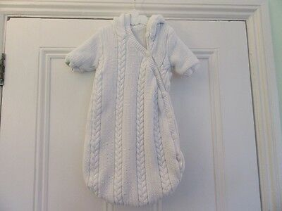 Newborn Lovely white knitted all-in-one/ snowsuit: Soft furry lining: Mothercare