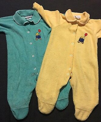 Lot Of 2 Vintage Paddington Bear Footie Pajamas Sleepers Yellow  6 - 9 Months