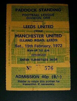 1971/72 Division 1 LEEDS UNITED v  MANCHESTER UNITED   original match  ticket