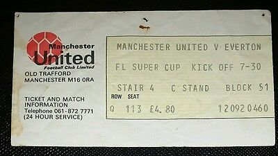 1985/86 FL Super Cup MANCHESTER UNITED v EVERTON  original match  ticket