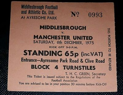 1975/76 Division 2 MIDDLESBROUGH  v MANCHESTER UNITED  original match  ticket