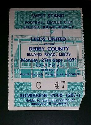 1971/72 league cup  LEEDS UNITED v  DERBY COUNTY    original match  ticket