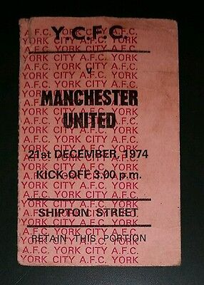 1974/75 Division  YORK CITY  v  MANCHESTER UNITED  original match  ticket