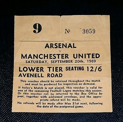 1969/70 DIVISION 1 ARSENAL v MANCHESTER UNITED  original ticket