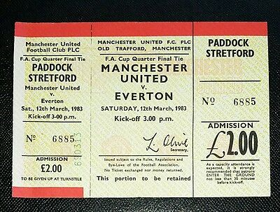 1983 FA cup Manchester United v Everton original match ticket unused