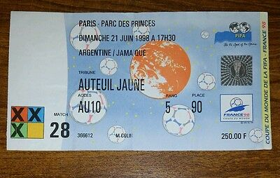France 1998 Jamaica v Argentina  world cup ticket